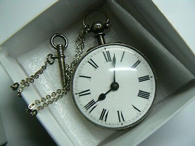 RARE1839 LANDFORD LONDON silver Fusee pocket watch silver chain original key box