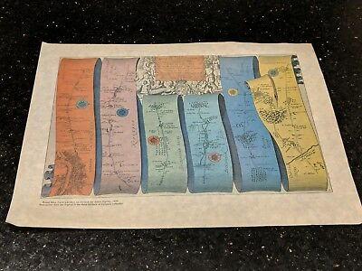 Vintage Road Map from London to Oxford by john Ogilby Reproduction Antique Print
