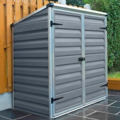 Grey Plastic Garden Shed With Base Palram Voyager Wheelie Bin Store Lockable