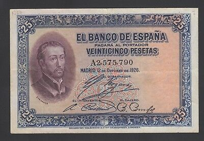 Spain  25 Pesetas 12-10-1926  VF  P. 71,    Banknote, Circulated