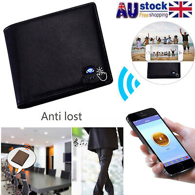 AU Men's Smart Wallet Genuine Leather Bluetooth Anti-Lost/Theft Alarm Tracker