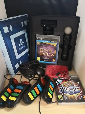 2 x PlayStation 3 PS3 Games Book Of Spells & Buzz Music Quiz & Controllers #8C