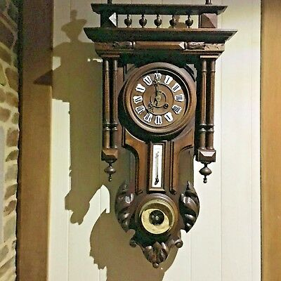 BLACK FOREST STYLE Antique french wall clock with thermometer and barometer