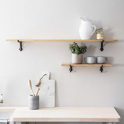 Large / Small Wooden Raw Oak Shelves With Wall Cast Iron Brackets Display Shelf