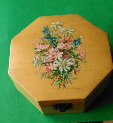Mauchline Ware Octagonal Cotton Reel Box. Print of Alpine Flowers. Coates Label.