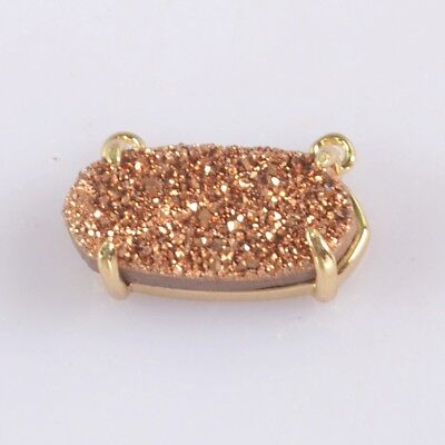 14x7mm Natural Agate Titanium Druzy Claw Prong Connector Gold Plated B076112