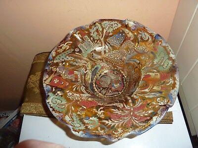 Moser Style Royo Amber Art Glass 28.5Cm Footed Bowl With Knight/lady/castle Deco