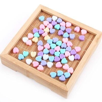 50Pc Multicolor Heart Shaped Spacer Beads DIY Bracelet Jewelry Accessory Making