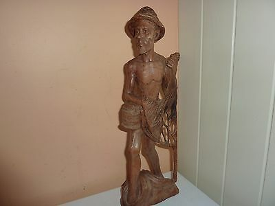 Vintage Indonesian/ S.e Asian 39Cm High Hand Carved Wooden Fisherman &net Figure