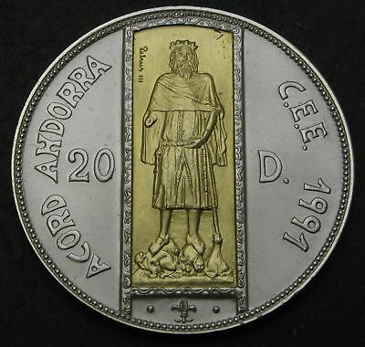 ANDORRA 20 Diners 1994 - Silver With Gold Inlay - ECU Customs Union - 1458