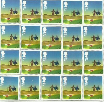 50 2nd Class Christmas Unfranked GB Stamps (Peelable)