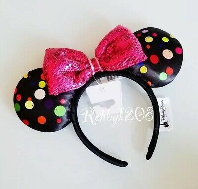 Disney Parks 2019 Rock The Dots Multi Colored Polka Dot Minnie Ears Headband NWT