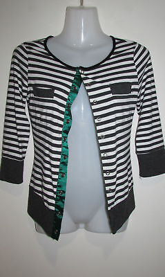 REVIEW Black & White Striped Cardigan Size 8 Small S **HUGE $5 SALE!!**
