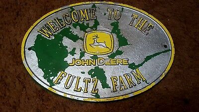 Welcome To The JOHN DEERE Fultz Farm Aluminum Oval Plaque Sign Embossed Letters