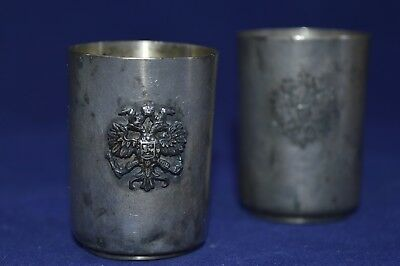Antique 19th  Russian Imperial Sterling Silver 84 Vodka Shot Cup glass Art eagle