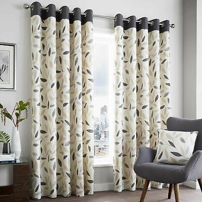 Grey Eyelet Curtains Beechwood Leaf Cotton Ready Made Ring Top Curtain Pairs