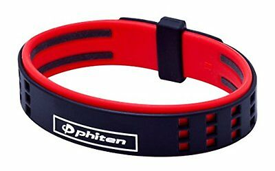 Phiten Bracelet RAKUWA BRACE S DUO Type Silicon Titanium Black / Red 7.48 in*