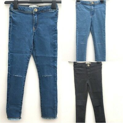Girls Ex ZARA Skinny Slit Ripped Knee Skinny High Waisted Jeans Ages 6-14