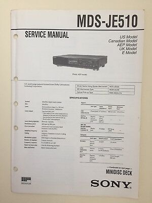 Sony MDS-JE510 Service Manual (original Document Not Copy Or PDF)