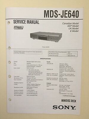 Sony MDS-JE640 Service Manual (original Document Not Copy Or PDF)