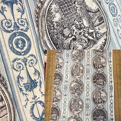 "Antique Toile De Jouy French blue Le Gout ,La Vue.L'Odorat Sensés Fabric 31""/45"""