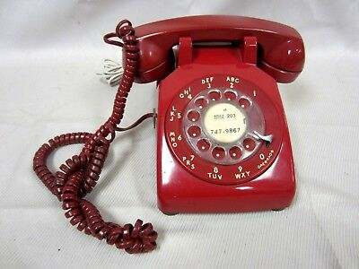 Vintage Bell System Western Electric Red Rotary Dial Desk Telephone 500DM #1SO