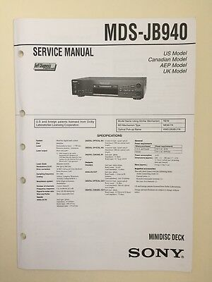 Sony MDS-JB940 Service Manual (original Document Not Copy Or PDF)
