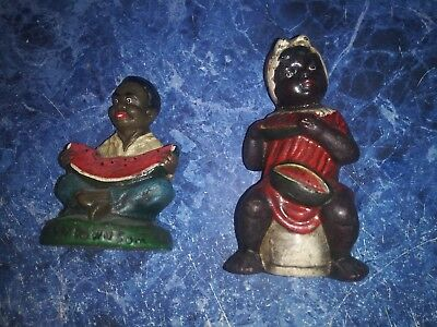 Antique black americana african american cast iron figurines eating watermelon