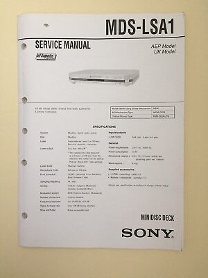 Sony MDS-LSA1 Service Manual (original Document Not Copy Or PDF)