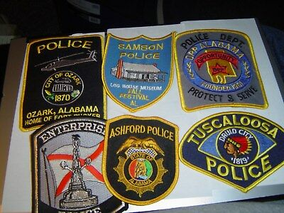 Lot Of 6 Various Mixed Alabama Police Department Patches
