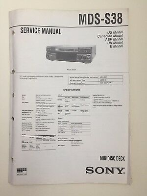 Sony MDS-S38 Service Manual (original Document Not Copy Or PDF)