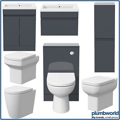 Bathroom Furniture Basin Vanity Toilet WC Unit Tall Cabinet Gloss Grey Modern