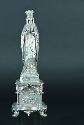 1890 graceful  French Religious Statue of  Our Lady of Lourdes crowned dated