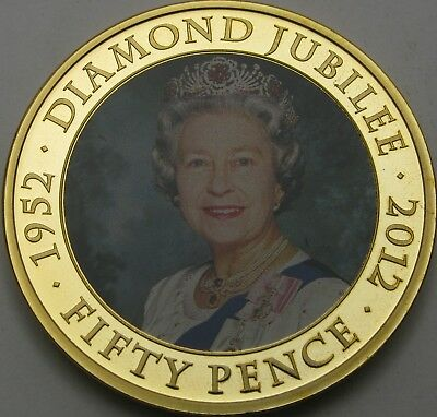 JERSEY 50 Pence 2012 Proof - Gold plated Steel - Diamond Jubilee - 2080 ¤
