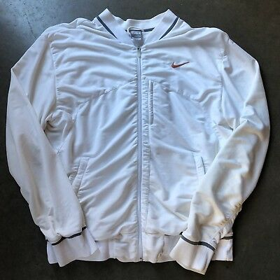 21827224be2c Men s Vintage 90 s Nike Dri-Fit White Gray Full Zip Up Cotton Bomber Jacket  Sz