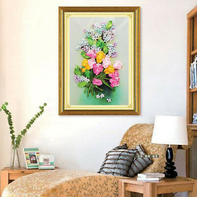 DIY Tulip Bouquet Painting Ribbon Embroidery Kits Wall Decoration No Frame