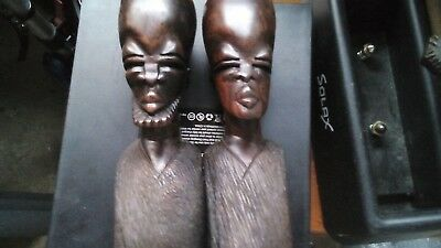 Pair of Vintage Hand Carved African Busts