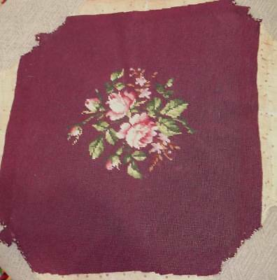 Large Vintage Wool Needlepoint Tapestry Chair Pillow Cover Roses