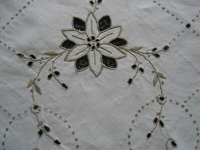 Beautiful Vintage Linen Openwork Hand Embroidered Tablecloth