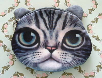 New Handcrafted Silver Gray Tabby Cat Kitten w/ Big Eyes Change Coin Purse