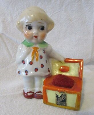 Vintage Japan Little Girl with Box Porcelain Pin Cushion Chicago Worlds Fair