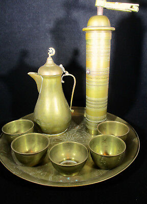 Antique Turkish Arabic Etched Brass Dallah Coffee Pot - 5 Cups - Tray - Grinder