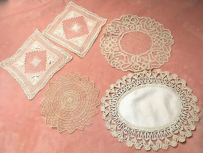 Antique Doilies (19) Tenerife, Tape Lace Embroidery Hand Made Unique Lot