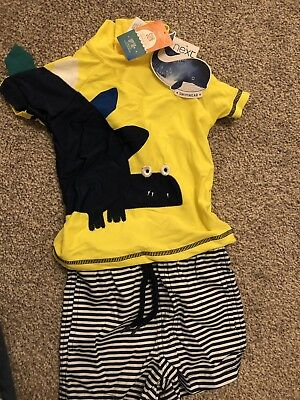 Next Uv Protector Sun Boys Swimsuit Top & Shorts.  6-9 Months. New With Tags