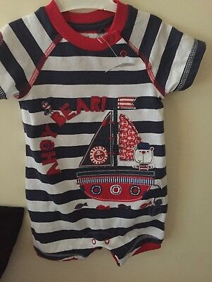 Baby Boys New Romper Suit Summer Spring  Wear Age 3/6 M Next Gift For Baby X