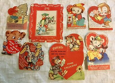 Vintage Pre-Owned 1940's Valentine Cards Cute Animated Animals Lot of 8