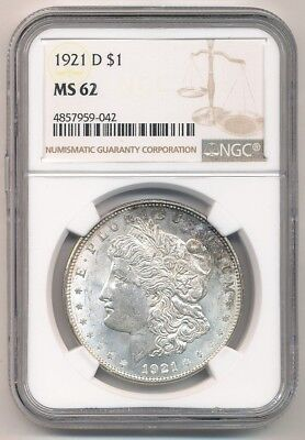 1921-D Morgan Silver Dollar Professionally Graded By Ngc Ms62 Opens @ .99 Cents!