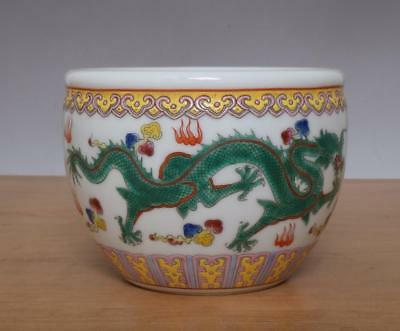 Qianlong Signed Antique Chinese Famille Rose Porcelain Brush Washer w/dragon