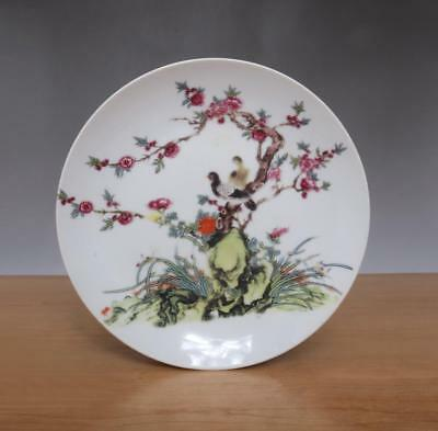 Yongzheng Signed Old Chinese Famille Rose Porcelain Dish w/ Flower and Bird