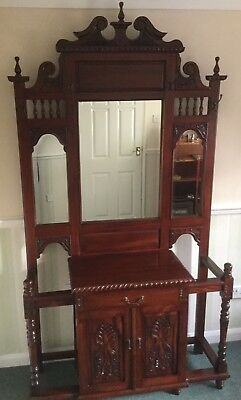 Antique Style Hall Stand/dresser With Cupboard And Drawer